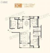 金地悦江时代3室2厅2卫119--120平方米户型图
