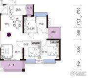 上林苑3室2厅1卫88平方米户型图