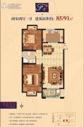 帝景豪苑2室2厅1卫85--91平方米户型图