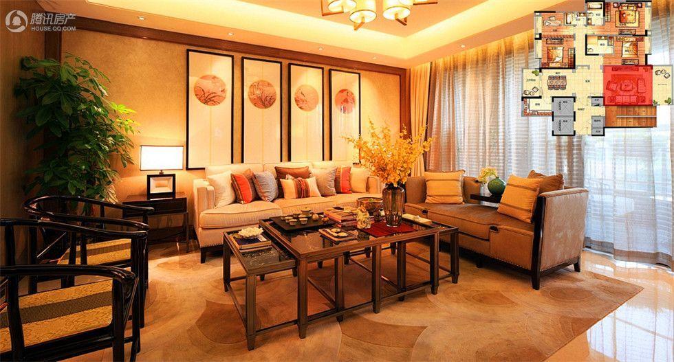客厅的装修采用中式风格,古风古韵的茶几茶具和座椅,显得客厅的气质