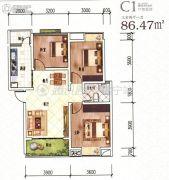 龙湖上院3室2厅1卫86平方米户型图