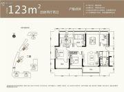 京基御景中央4室2厅2卫123平方米户型图