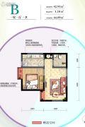 太奥广场住宅1室1厅1卫44平方米户型图