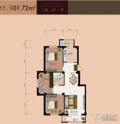 双兴六月天3室2厅1卫101平方米户型图