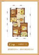 锦绣江南3室2厅1卫91平方米户型图