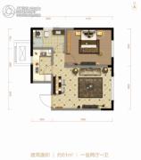 北大资源阅城1室2厅1卫61平方米户型图