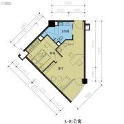 君湖尚寓2室2厅1卫58平方米户型图