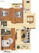 华地东城3室2厅2卫128--129平方米户型图