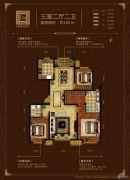 中海国际公馆3室2厅2卫160平方米户型图