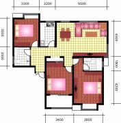 中天优诗美地3室2厅1卫130平方米户型图