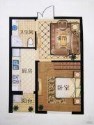 澳海澜庭(现房)1室1厅1卫52平方米户型图