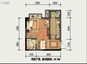 国盛园墅1室1厅1卫29平方米户型图