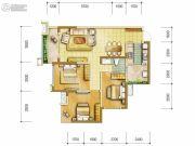 中海右岸3室2厅1卫90平方米户型图