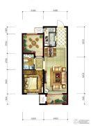 永定河孔雀城美丽园1室2厅1卫67平方米户型图