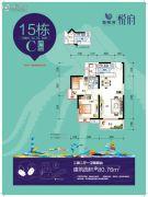 海悦湾2室2厅1卫80平方米户型图