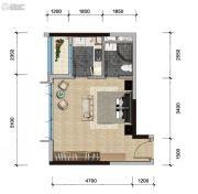 远洋天骄广场1室1厅1卫48平方米户型图