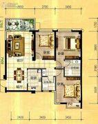 天立国际3室2厅2卫107平方米户型图