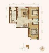 龙城帝景2室2厅1卫92平方米户型图