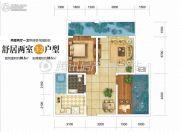 双发广场2室2厅1卫80平方米户型图