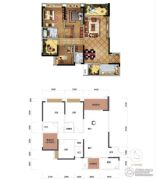力帆红星国际广场3室2厅2卫116平方米户型图