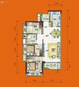 时代花城3室2厅1卫85平方米户型图