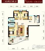 怡景江南3室2厅2卫130平方米户型图
