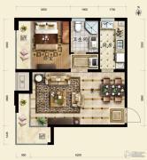 保利春天里1室2厅1卫58平方米户型图