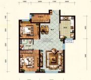 维多利大商城2室2厅1卫113平方米户型图