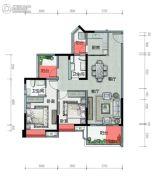 广铝荔富湖畔2室2厅2卫104平方米户型图
