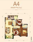 邦泰・铂仕公馆3室2厅2卫96平方米户型图