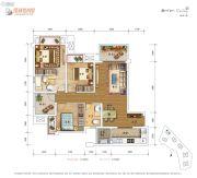 保利爱尚里3室2厅2卫86平方米户型图