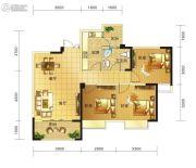 春天印象二期3室2厅1卫86平方米户型图