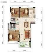 保利时代3室2厅2卫106平方米户型图