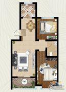 翡翠�m亭2室2厅1卫78平方米户型图