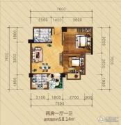 英华东方河畔2室1厅1卫58平方米户型图