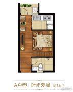 涌鑫哈佛中心1室1厅1卫31平方米户型图