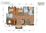 钻石广场3室2厅2卫91平方米户型图