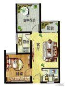 百合金山2室1厅1卫52--50平方米户型图