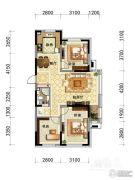 观山悦公馆2室2厅1卫0平方米户型图