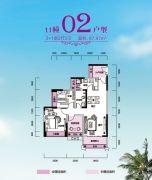 锦富・汇景湾3室2厅2卫87平方米户型图