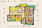 源上湾国际社区3期D区3室2厅2卫91平方米户型图