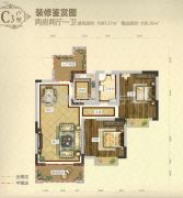 城北滨江河畔3室2厅1卫90平方米户型图