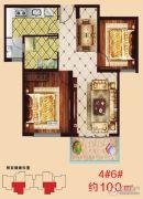 阳光国际新城2室2厅1卫100平方米户型图