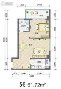 裕天国际商汇中心1室1厅1卫61平方米户型图