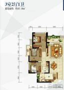 翡翠国际・君悦湾2室1厅1卫82平方米户型图