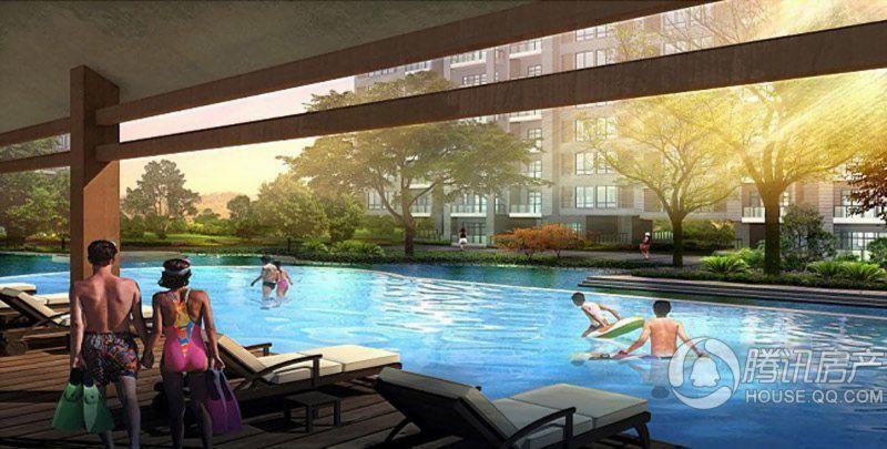 渝开发上城时代项目内无边际游泳池效果图
