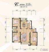 博圣・御府龙湾3室2厅1卫113平方米户型图
