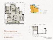 万科金色悦城3室2厅2卫127平方米户型图