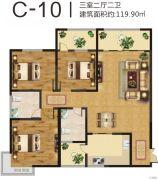 美伦山水华府3室2厅2卫119平方米户型图