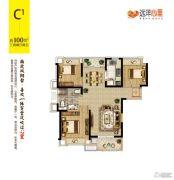 远洋心里3室2厅1卫100平方米户型图